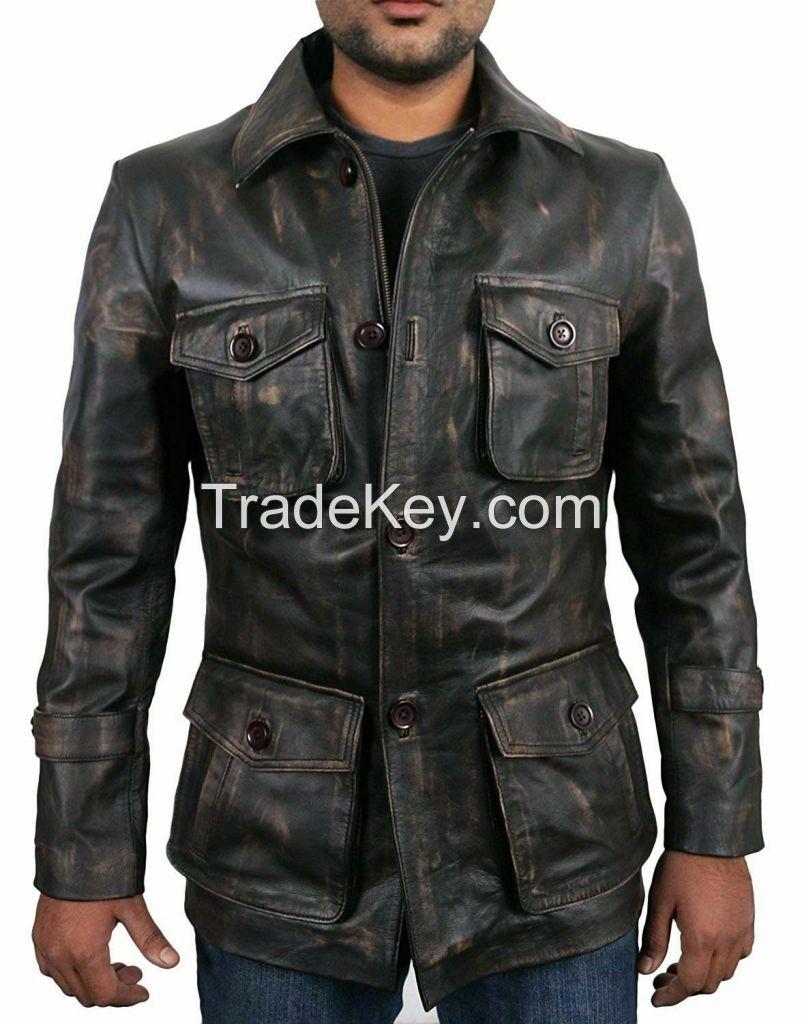Mens Vintage Distressed Motorcycle Leather Jacket Coat For Men Genuine Leather
