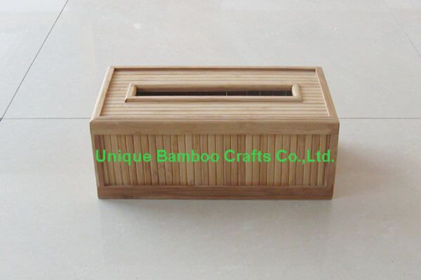 Eco-friendly bamboo napkin box in natural color