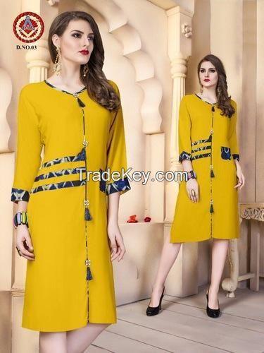A-Line Casual Wear Rayon Kurti