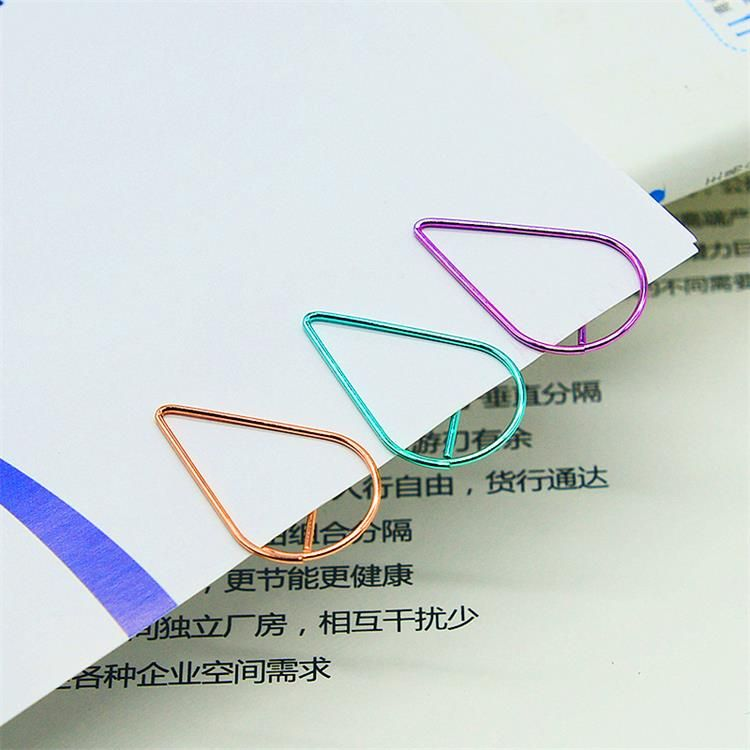 metal water drop color paper clip