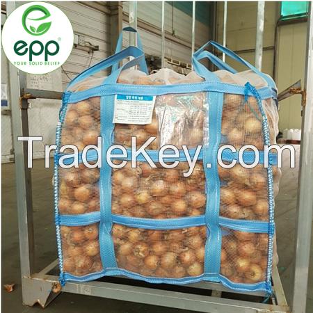 Hot sale 1 ton 1.5 ton 2 ton best firewood packaging FIBCs ventilated food grade woven polypropylene industrial mesh jumbo bag