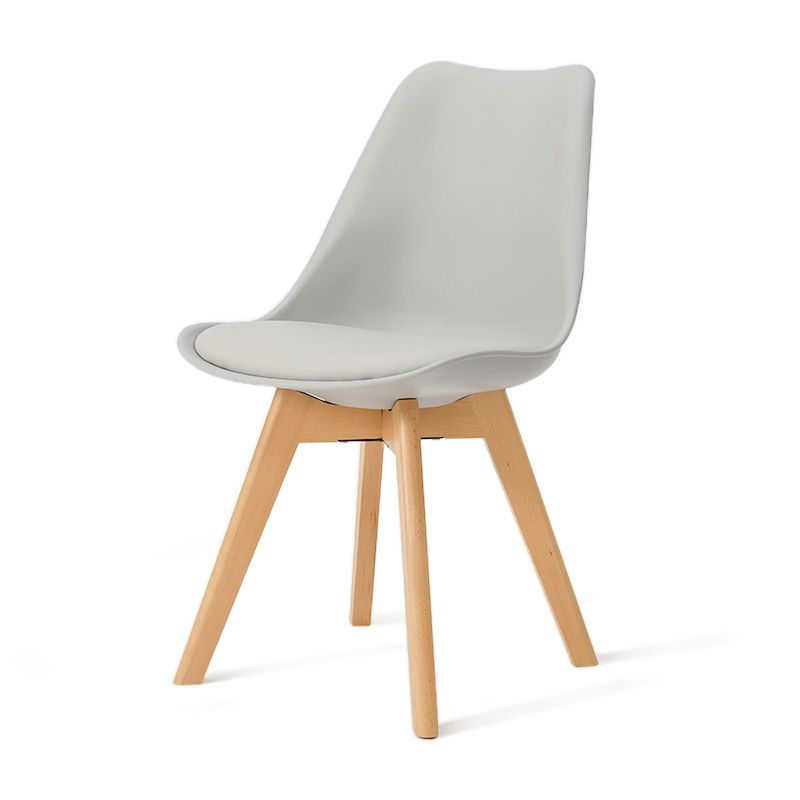 Design Beech Wood Lounge Chairs PP Seat Plastic Dining Chair