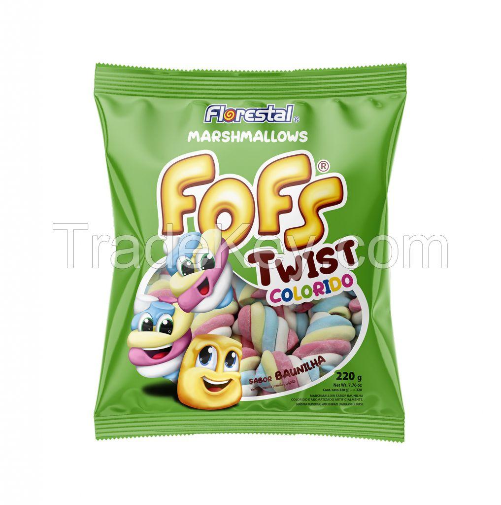 82622 - Marshmallow Fofs Twist Colored Vanilla 5g x 44un x 12 bag