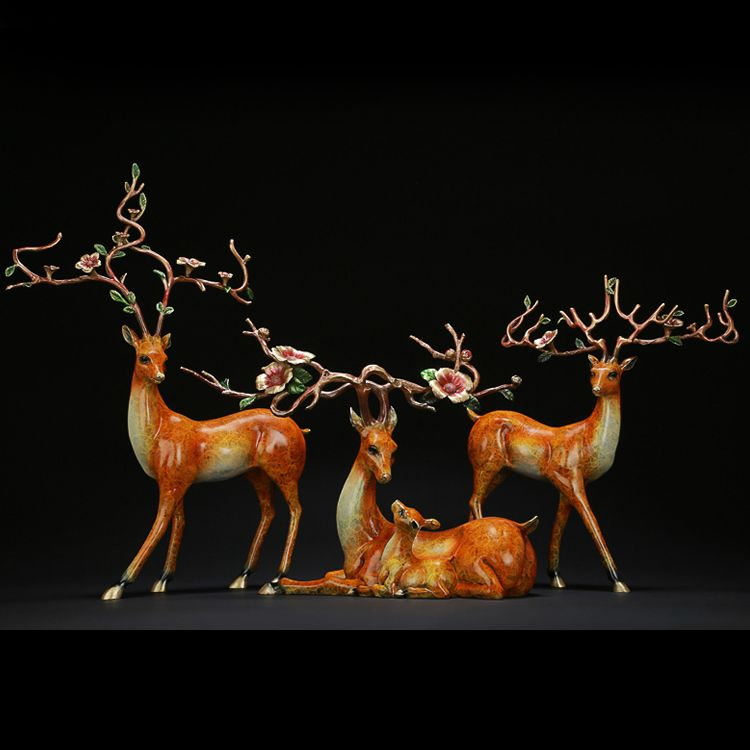 Outdoor Garden Decorative Sika Deer Statues Cast Metal Bronze Deer Sculpture