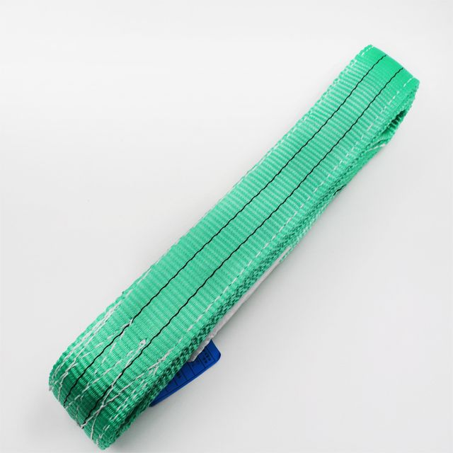 2T one way belt green color polyester webbing sling lifting sling