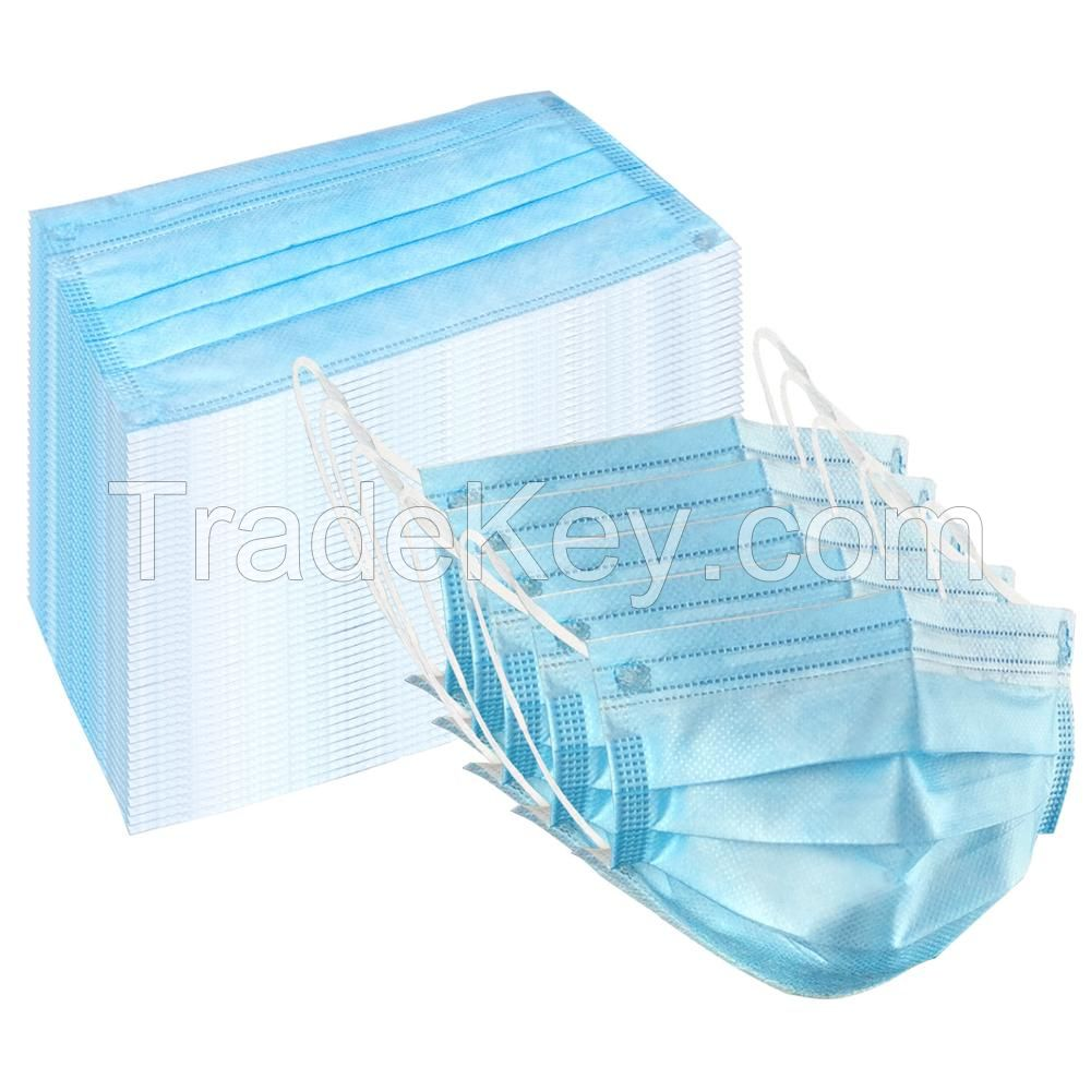 in stock anti-virus non woven disposable anti-dust 3 Ply earloop blue medical face mask manufacturer non N95