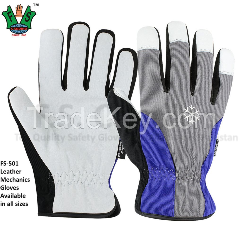 CE Approved Leather Mechanics Gloves