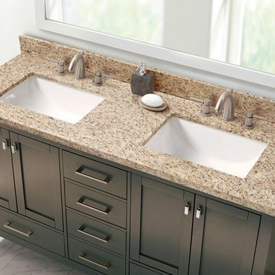 Giallo Ornamental Double Sink Vanity Top