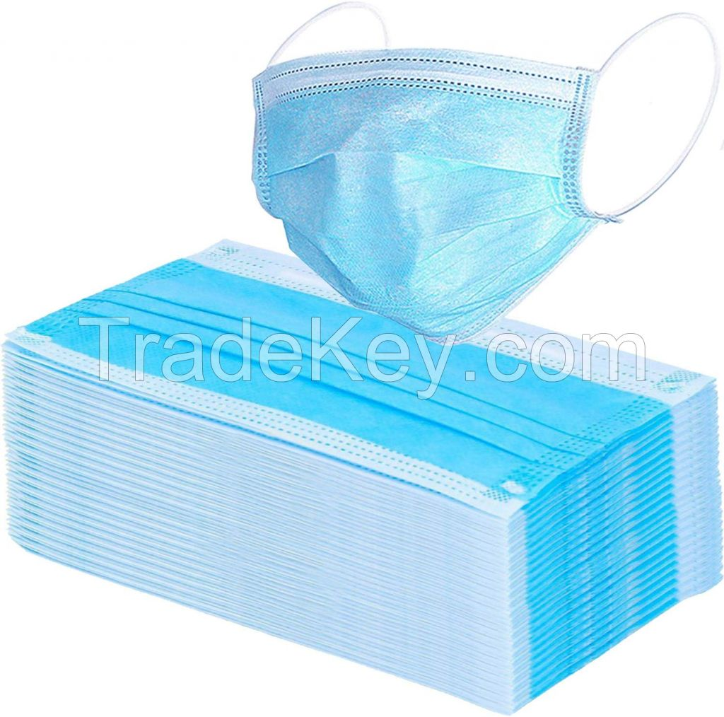 Blue Earloop Pleated Medical 3 ply Surgical Face Mask Disposable