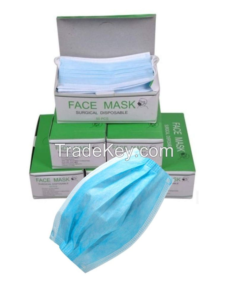 Disposable 3-ply Face Mask with Ear Loop, blue, Box of 50