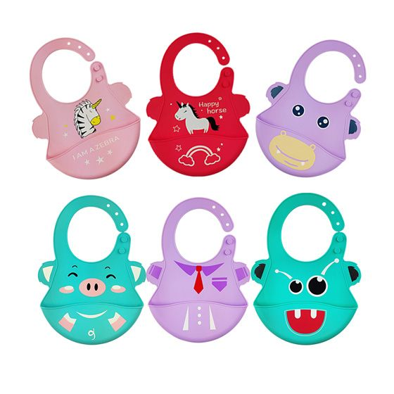 Soft Silicone The Silicone Wipe Clean Waterproof Baby Bibs Factories