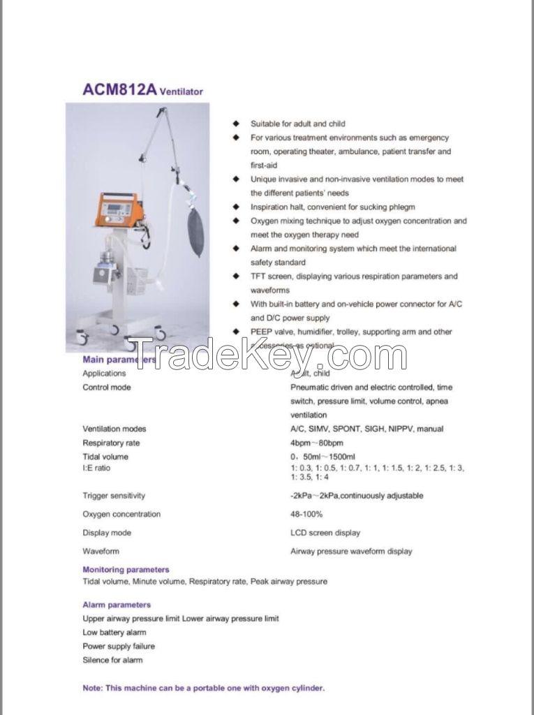 Medical Ventilator Lung Ventilator Respirator With Mask For Hospital In Stock