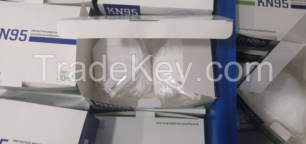 Disposable non-woven KN95 face masks.