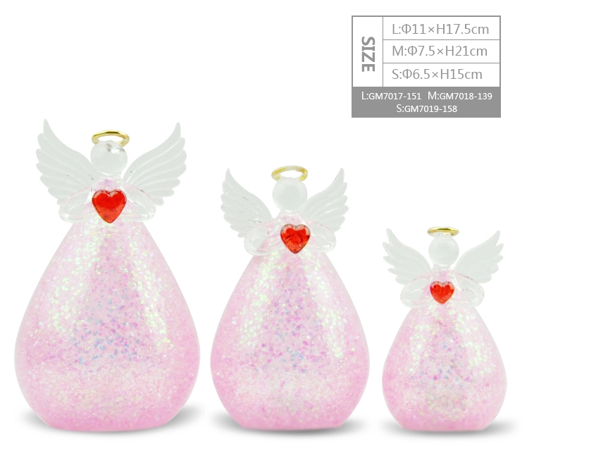 Hot Sale Beautiful Blown Small Clear Glass Angel Christmas Ornaments Figurine For Xmas Holiday Gift and Decoration