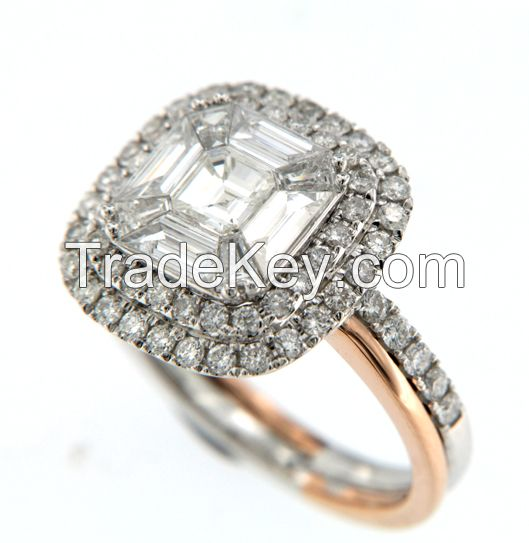 Classic Design High Polish 18K Solid Gold Illusion Setting Diamond Cushion Shape Double Halo Engagement Ring for sell