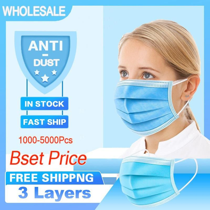 .In Stock DHL/UPS Fast Delivery Disposable Face Masks 3-Layer Nonwoven + Filter Cotton Masks Safety Masks Anti Dust Home Use Comfortable Mask