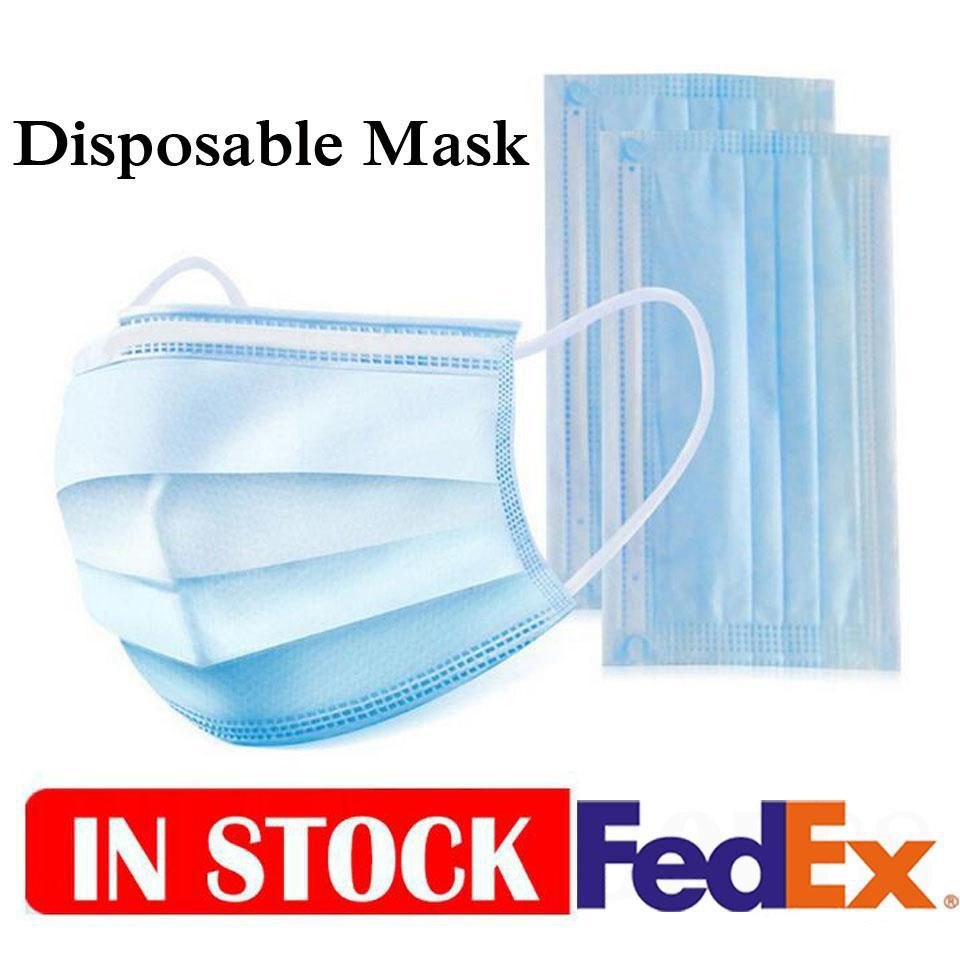 Fast Delivey Wholesale Disposable Face Mask Breathable Dust Proof Respirator Masks Cover 3 Layers Non-Woven Earloop Nose Mouth Masks