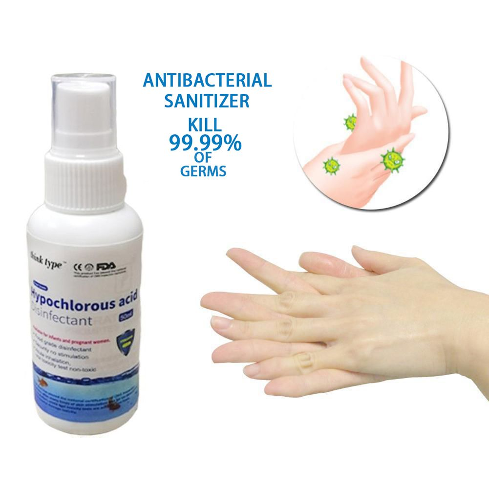 In stock Wholesale no alcohol 50ml wash free hand sanitizer spray THINK TYPE Hypochlorous acid disinfectant Free Ship fast arrive..
