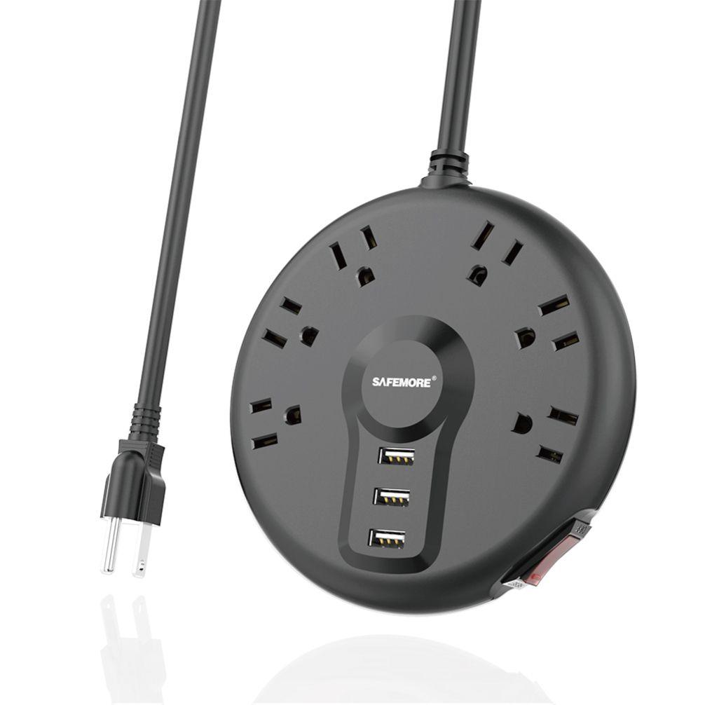 Safemore USB Smart Round Power Strip Socket Charging Station