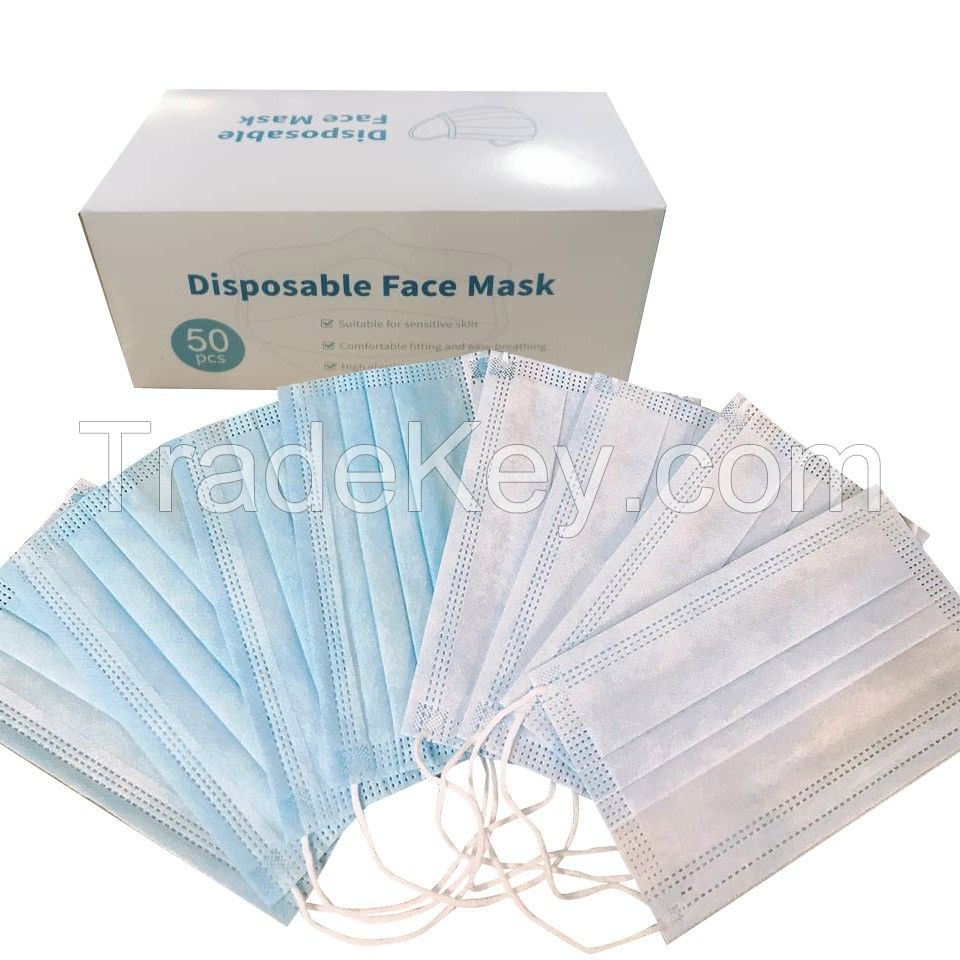 Wholesale Protective Facial Mask Non-woven 3 Ply Disposable Face Mask