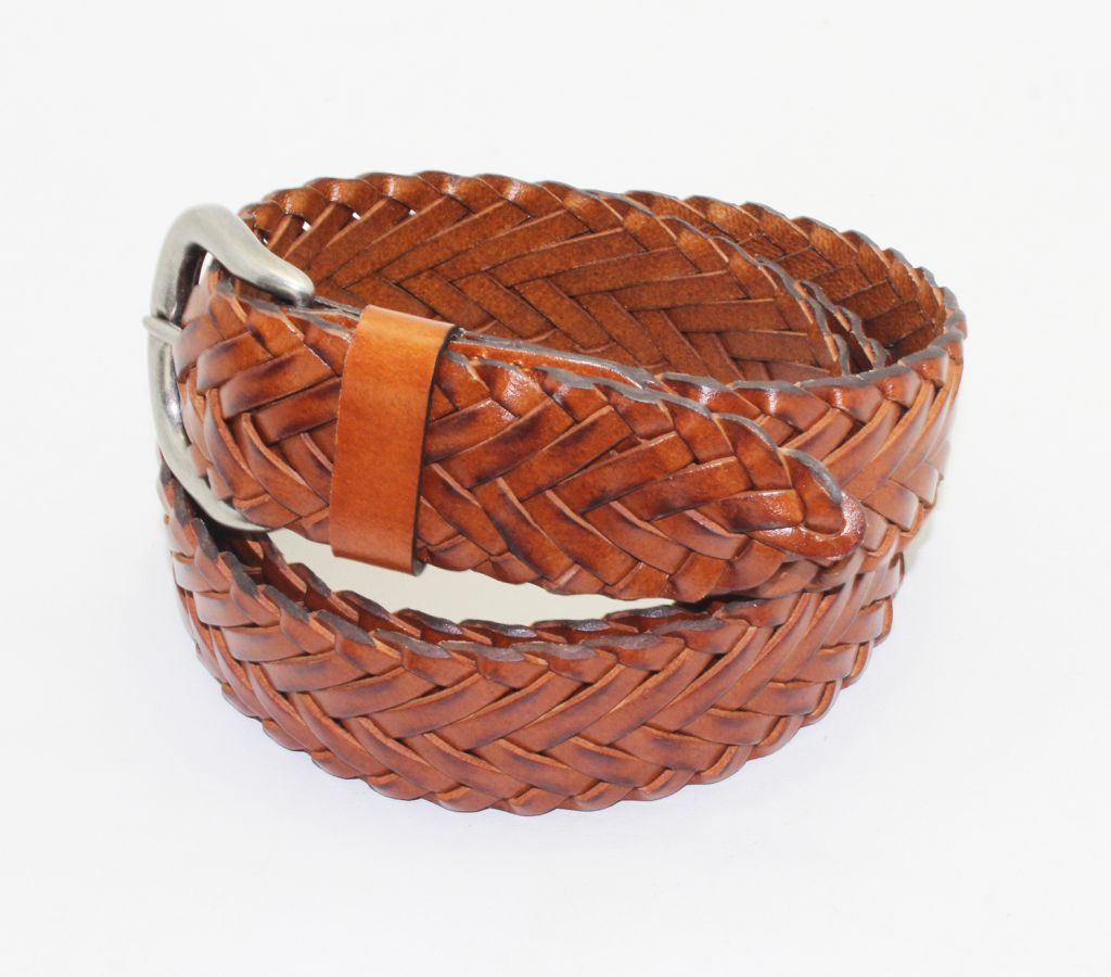 100% full grain leather braided belts with metal pin buckle