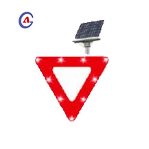 Triangle Solar Traffic Safety LED Yield Sign