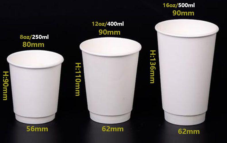 Customized Printing 8oz 12oz 16oz Disposable Double Wall Kraft Coffee