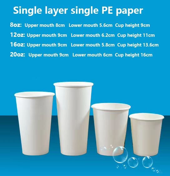 100% Biodegradable Disposable PLA Coated Coffee Paper Cup with lid