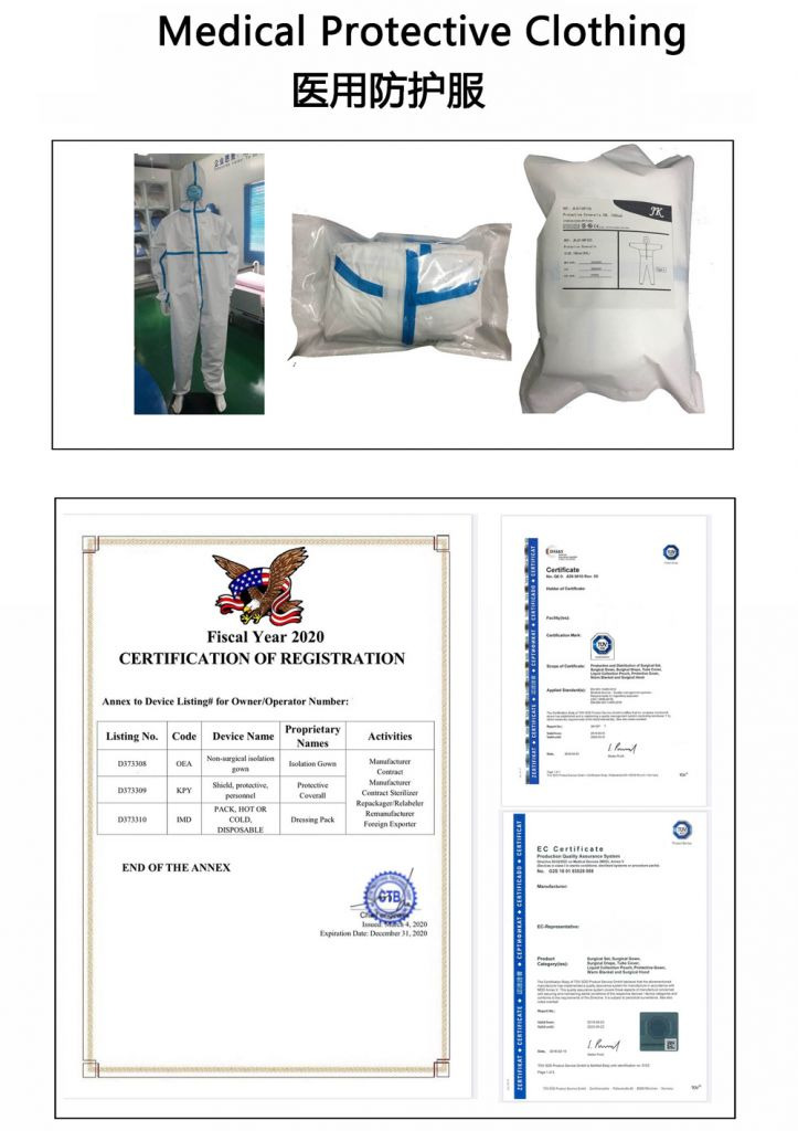 Medical Protective Clothing Certified By FDA, CE, ISO,TUR Type 4 Blue stripe