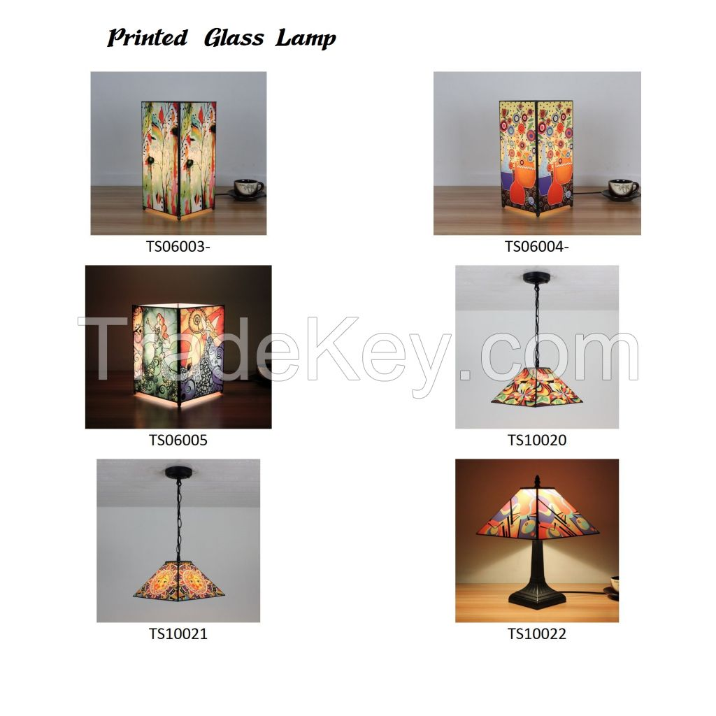 Printed Glass Table Lamp