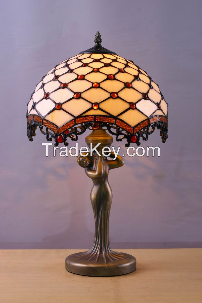 Tiffany Style Table Lamp Desk Beside Lamps 12 Inch Orange Blue Stained Glass Shade Crystal Bead Dragonfly 2 Light Antique Zinc Base for Living Room Bedroom Coffee Table