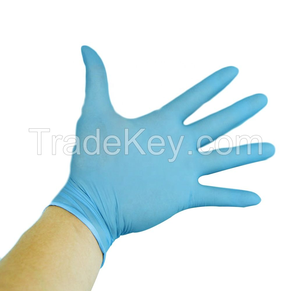 Disposable powdered free blue nitrle gloves for medical use