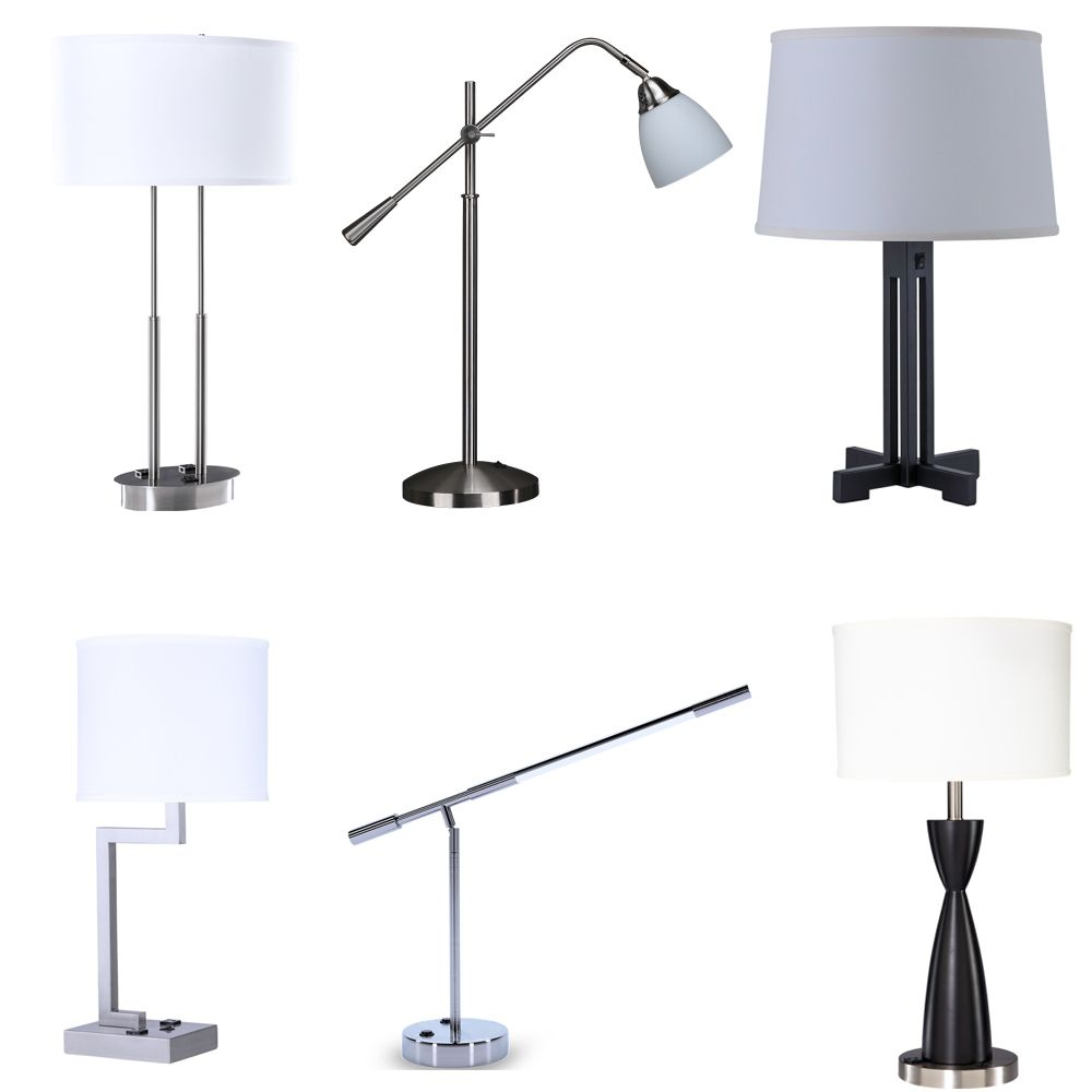 Hotel Guset room USB Brushed nickel table lamp with Linen lampshade