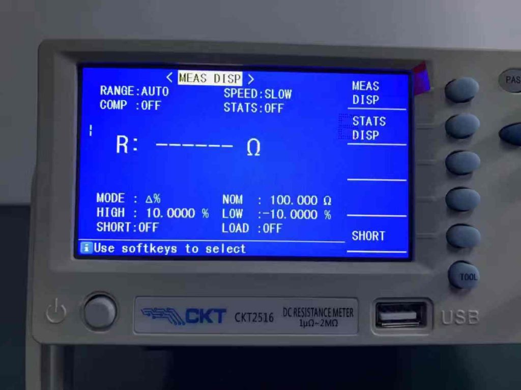 CKT2516 Micro Ohm Meter DC Resistance Meter for Low Resistance 1micro ohm-2Mohm Measurement Range