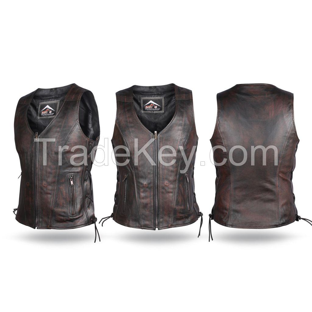 Ladies Dark Brown Antique Genuine Cow Hide Leather Waist coat/Vest