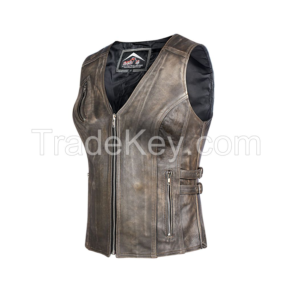 Ladies Light Brown Antique Genuine Cow Hide Leather Waist Coat/Vest with Waist Straps