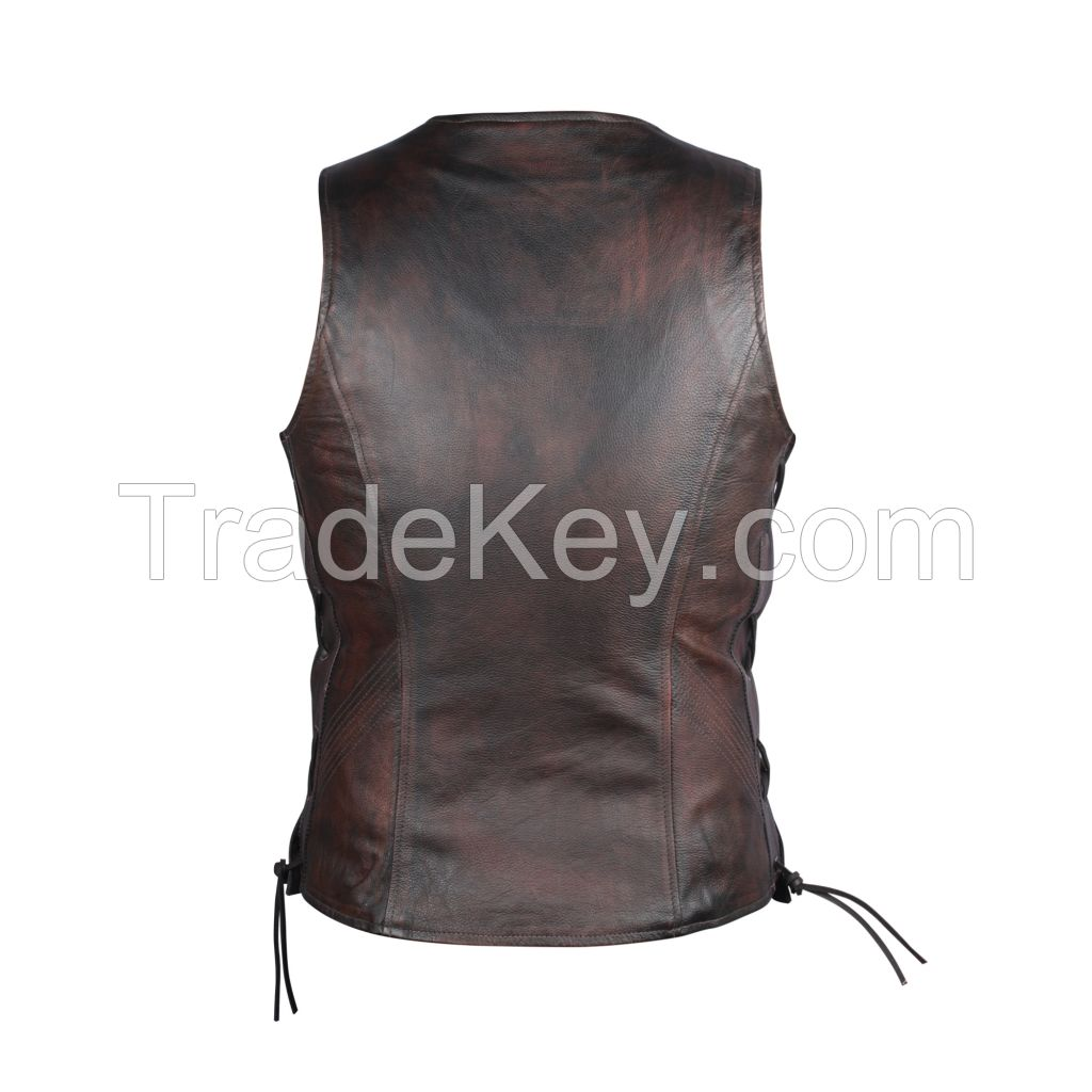 Ladies Dark Brown Antique Genuine Cow Hide Leather Waist coat/Vest