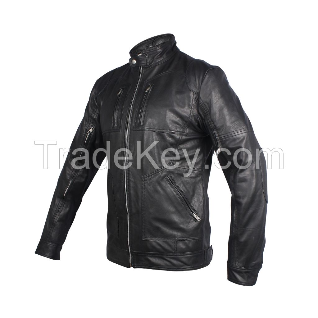 Mens cow hide leather jacket