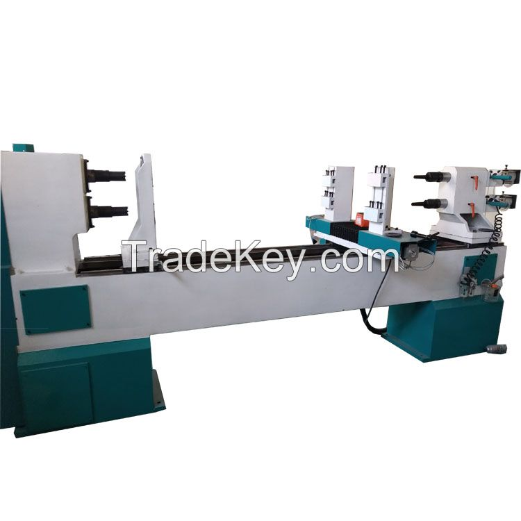 Jinan woodworking CNC wood turning lathe carving machine with spindle for staircase Rome column baseball bat chair legs