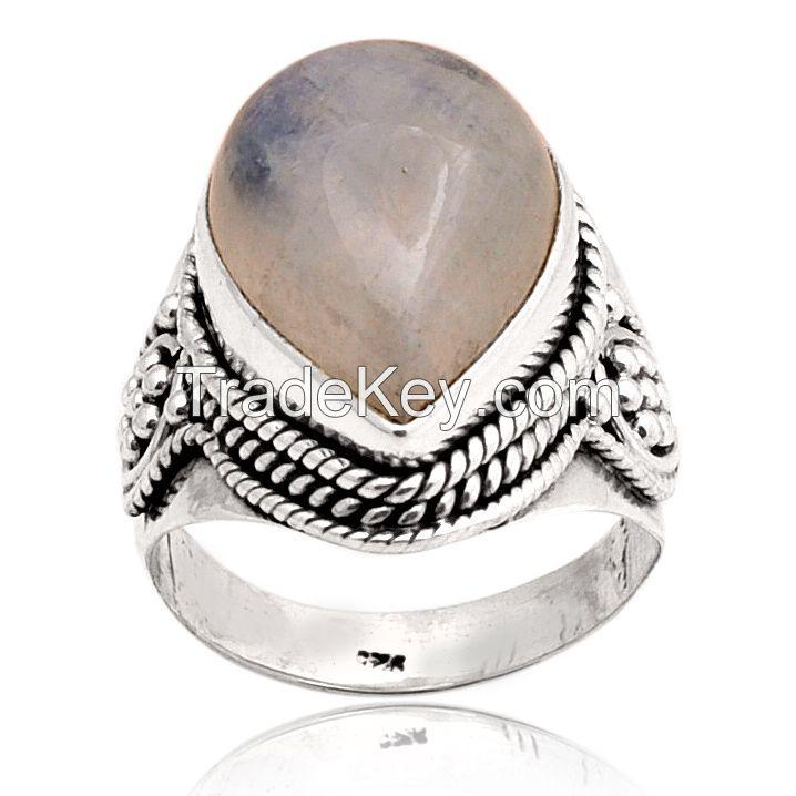 Rainbow Gemstone Ring - Sterling Silver Ring - Semi precious Stone Ring
