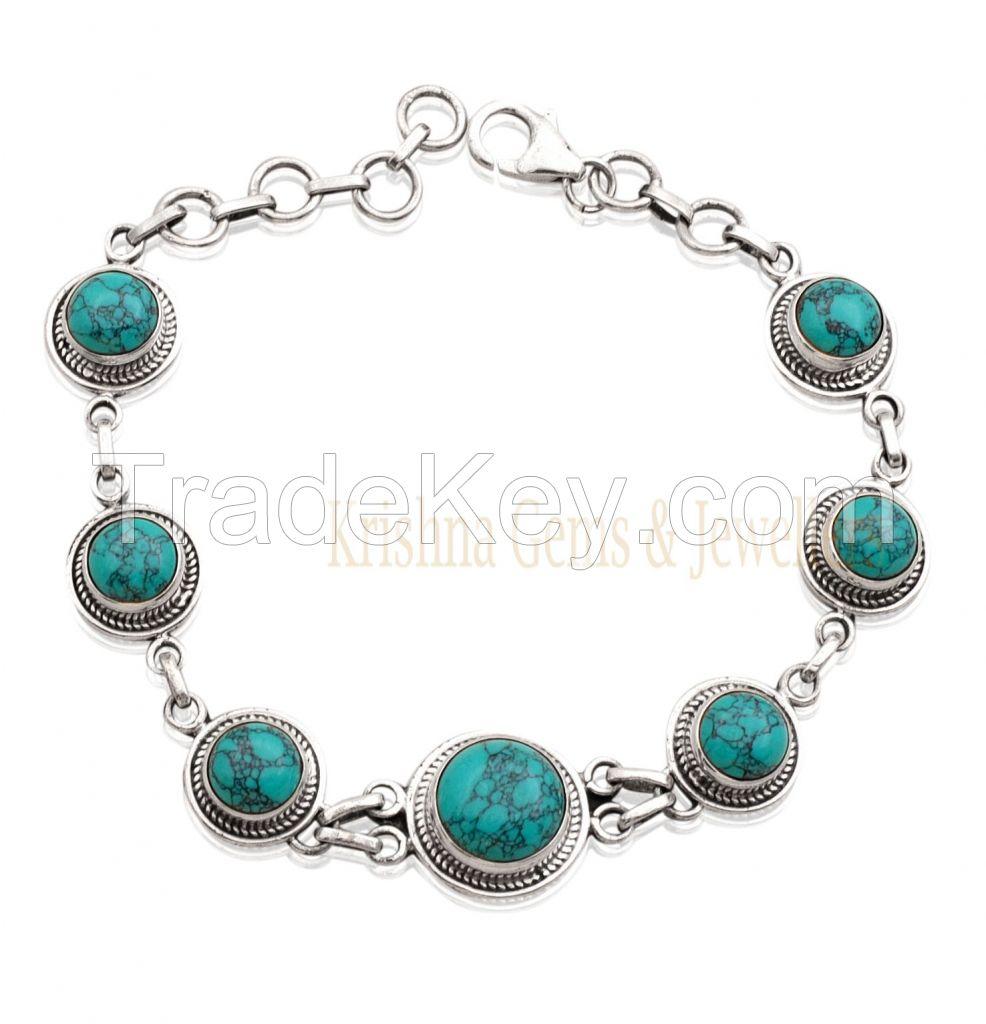 Turquoise Bracelet - Sterling Silver Turquoise Bracelet- Semi precious Stone Bracelet