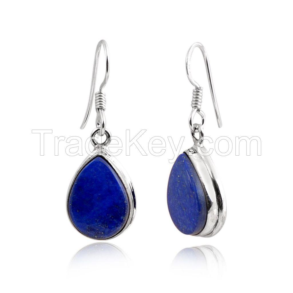 Lapis lazuli Earring - Sterling Silver Earring - Semi precious Stone Earring