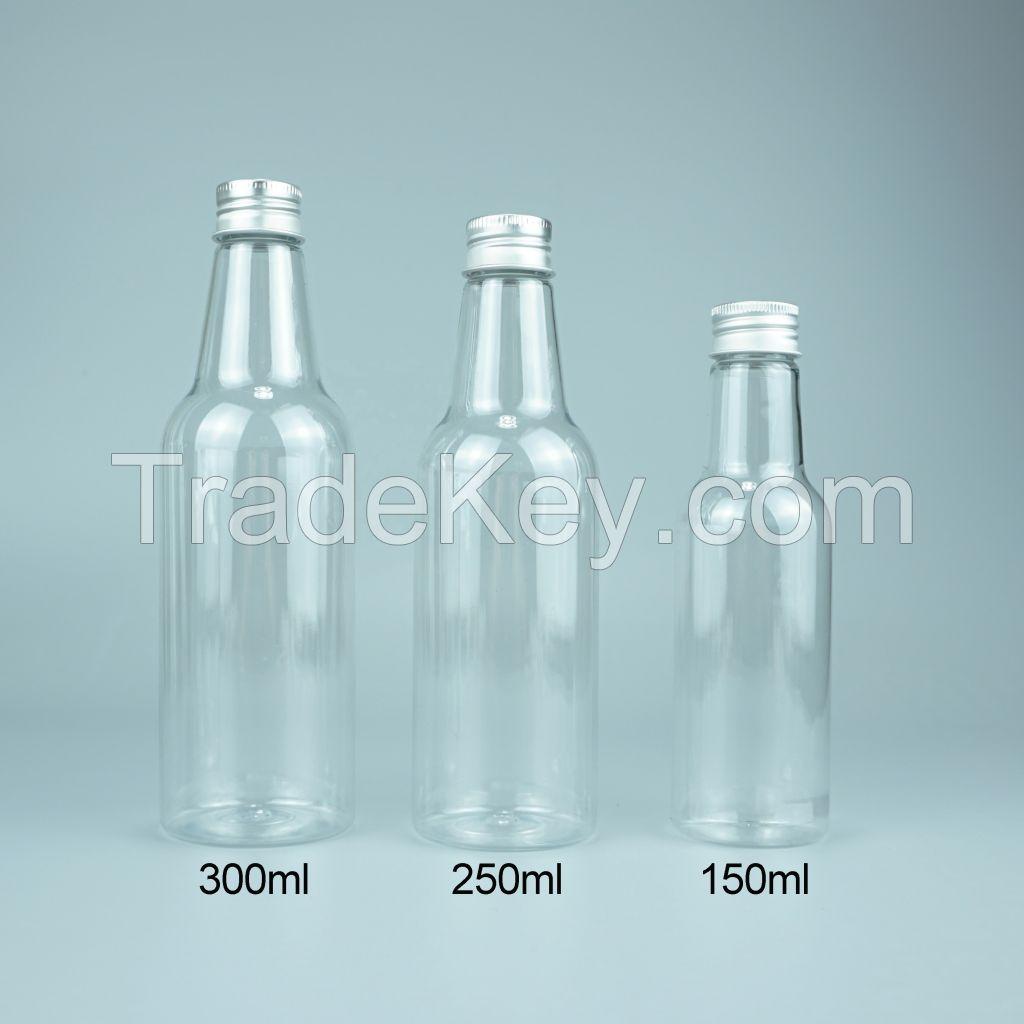 150 250 300ml Empty BPA Free PET Plastic Beverage Juice Water Bottles with Cap