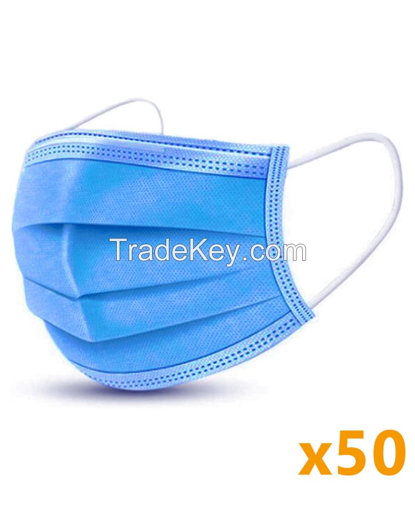 WHOLESALE OF TOP QUALITY DISPOSABLE 3PLY PROTECTIVE FACE MASK WITH EARLOOP AND MELTBLOWN FILTER MANUFACTURER