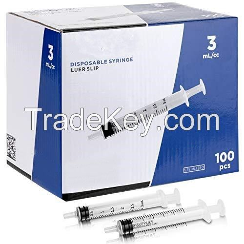 CE approved medical 1ml plastic luer lock slip disposable syringes with needle