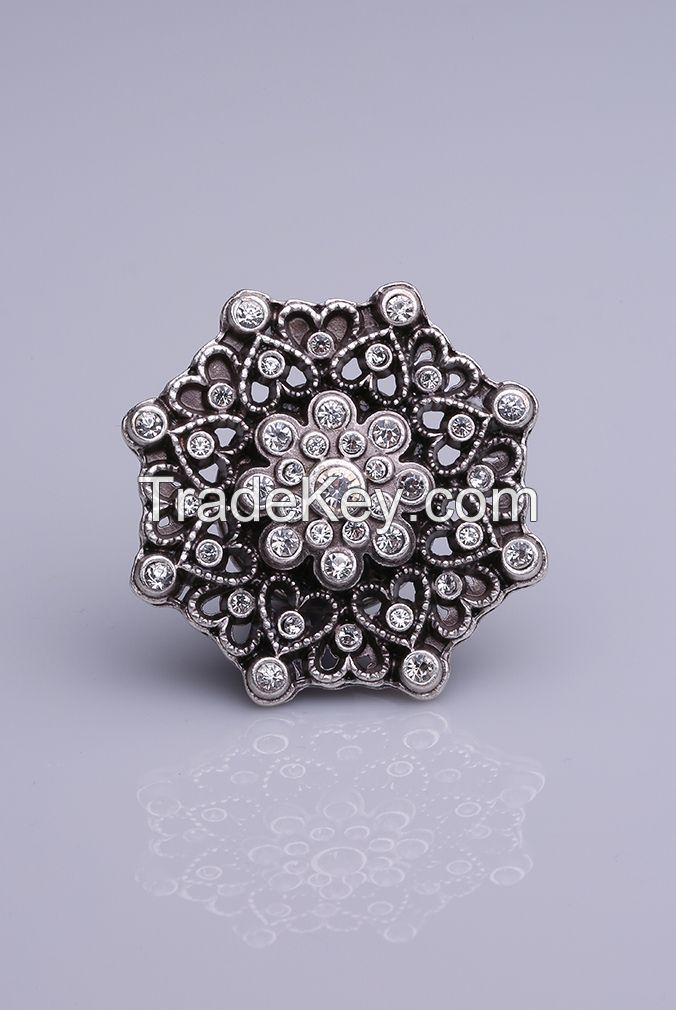 Crystal Stone Silver Plated Magnet Brooches