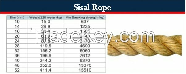 3 or 4 Strands first grade 100% natural Sisal Rope