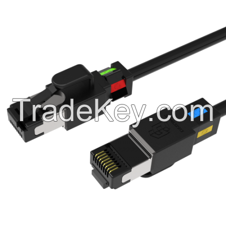 Slim Cat.6A Screened Patch Cable With Rotatable Color Clips