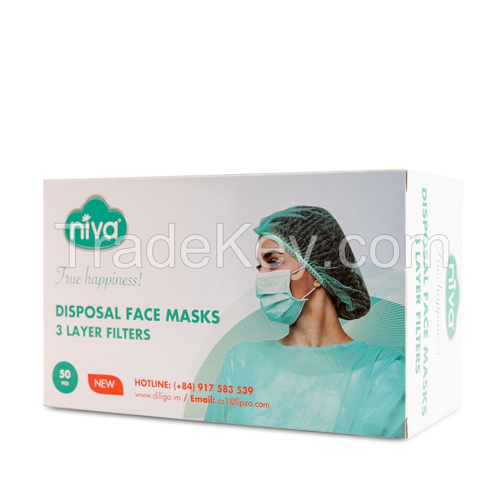 NIVA MEDICAL FACE MASK 3 LAYERS Made in Vietnam
