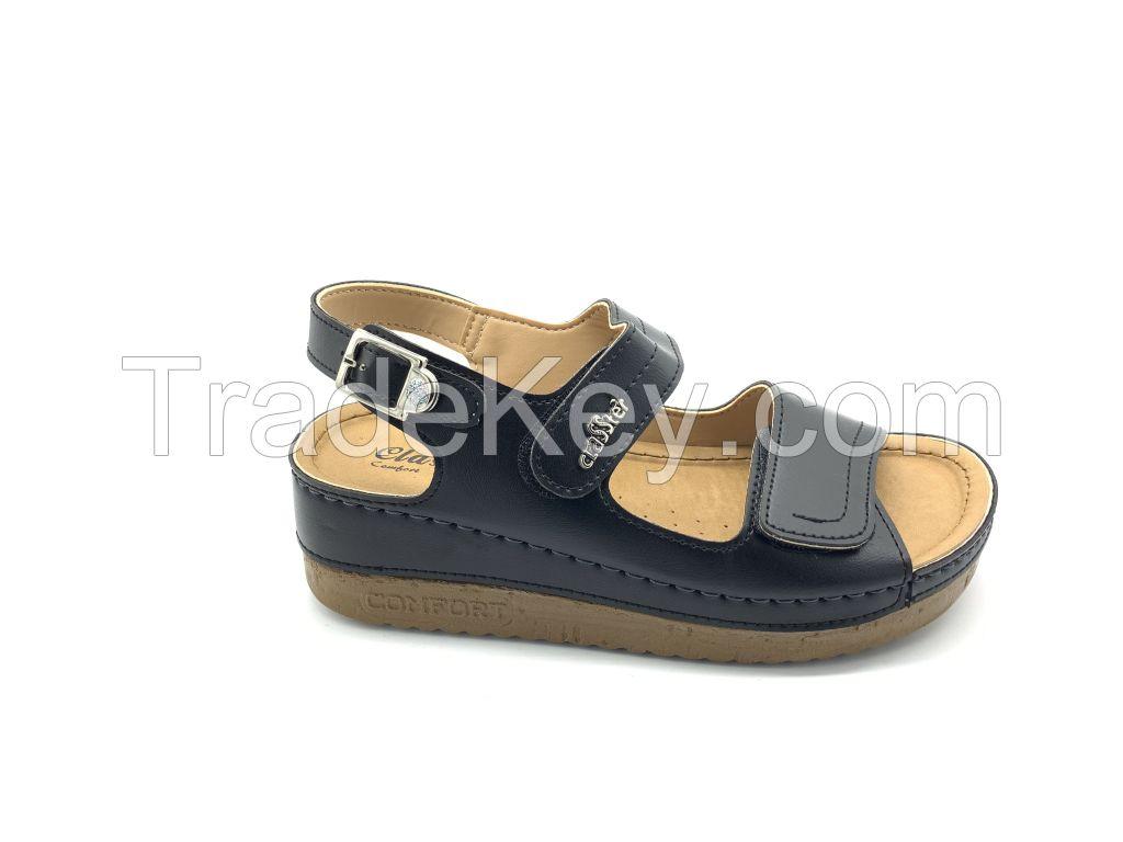 3014.01 imitation leather comfort black women sandals.
